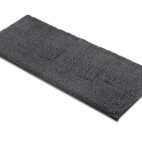 Rugs Chenille Bath - ITSOFT Non-Slip Shaggy Chenille Soft Microfibers Bathroom Rug with Water Absorbent, Machine Washable, 21 x 47 Inch Charcoalgray