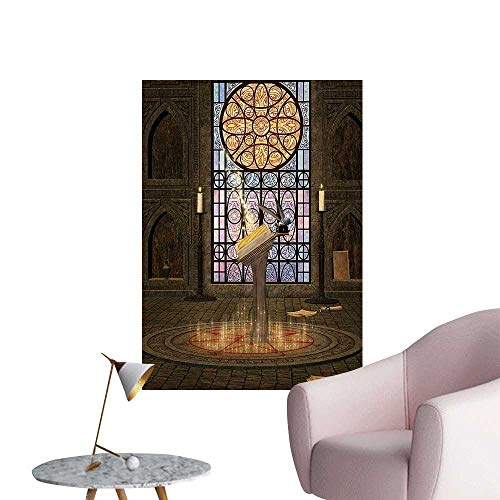 Wall Stickers for Living Room Lectern Pentagram Medieval Candlelight Dark Spell Altar Grey Lilac Vinyl Wall Stickers Print,20