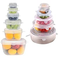 Miracle Silicone Stretch Lids 12 PACK Airtight Magic Stretchy Lids For Food Storage and Fresh Keeping, Reusable Silicone…