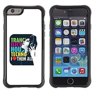 "Pulsar iFace Series Tpu silicona Carcasa Funda Case para Apple iPhone 6+ Plus(5.5 inches) , Trance Techno Música Electro House cita del amor"""