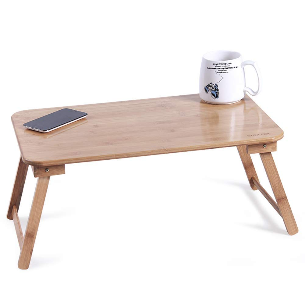 Portable Bed Table Foldable Laptop Desk for Small Spaces Bamboo Computer Tray Stable Wood 5 Sizes GAOFENG (Color : Natural, Size : 78CM)