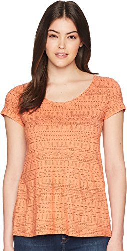 Toad&Co Women's Tissue Crossback Short Sleeve Tee Papaya Geo Seed Print (Ladies Tissue)