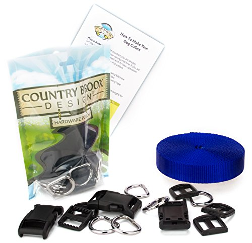 - Country Brook Design - 1 Inch Deluxe Dog Collar Kit with Royal Blue Nylon Webbing
