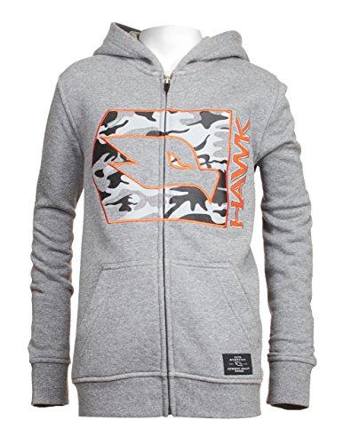 Childrens Camo Fleece Sweatshirt (Tony Hawk Kids Boys Fleece Front Zip Hoodie With Camouflage and Embroidery Charcoal Grey Size 10/12)