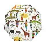 WIHVE Africa Art Elephant Giraffes Umbrella Auto Open Close Windproof Compact