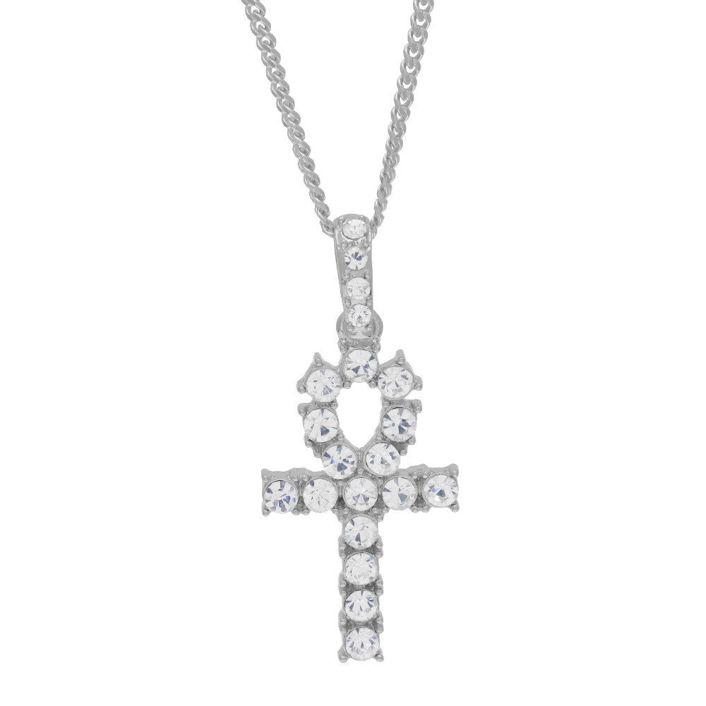 Geetobby Cross Pendant Necklace for Stainless Steel Jewelry for Women Men Hip Hop Rhinestone Chain Jewelry Pendant