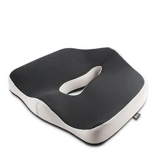 Orthopedic Coccyx Memory Foam Seat Cushion for Car, Office, Home and Travel, Helps with Lower Back, Hemorrhoid