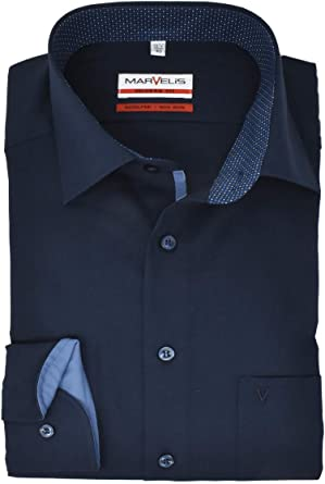 Marvelis Camisa de negocios para hombre de corte moderno, cuello con ribete, color azul oscuro