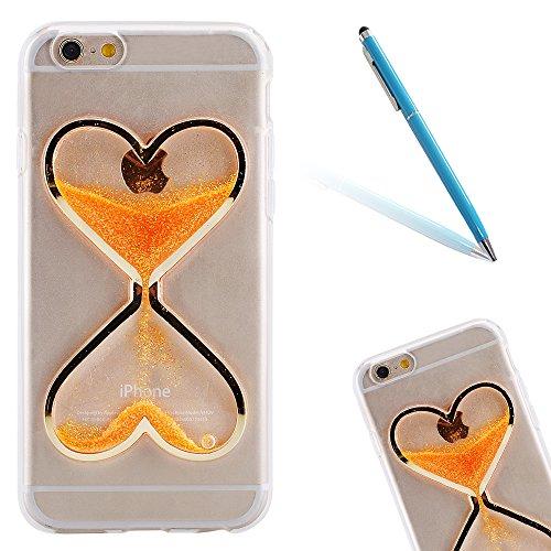 Funda para el 4.0 Apple iPhone 5/5s/SE, CLTPY iPhone 5s [Cristalino Transparente] Caja Protectora Hibrido Bling Cover para el iPhone SE + 1 Aguja Azul - Lentejuelas Rosas Naranja