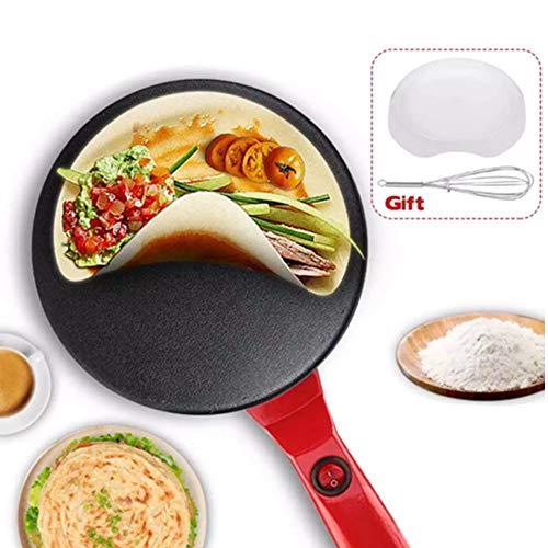 8″ Electric Crepe Maker, Portable Crepe Maker Cordless Crepe Pan Maker Griddle Crepe Pan with Non-Stick Coating for Crepes, Blintzes, Pancakes, Bacon, Tortillas – Free Gift Batter Pot & Egg Beater