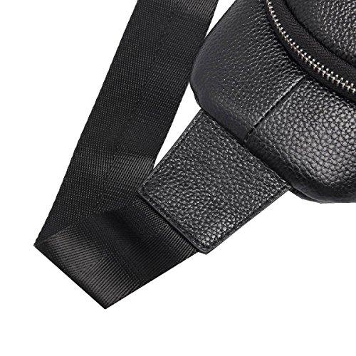Yy.f Bolsa Nuevos Bolso De Los Hombres Bolso Ocasional Impermeable Paquete Diagonal De Los Hombres La Primera Capa De Cuero Hombre Bolsa De Pecho Negro Black