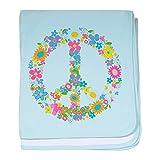 Royal Lion Baby Blanket Floral Peace Symbol Sign - Sky Blue