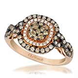 LeVian 0.90 Carat Chocolate & Vanilla Diamond Cushion Shaped Double Halo Ring Set in 14K Rose Gold