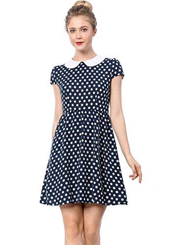 Allegra K Women's Peter Pan Collar Above Knee Contrast Polka Dot Dress Blue XS