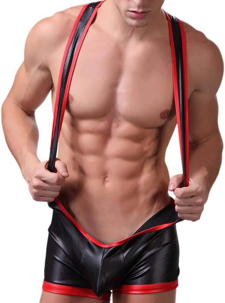 Wrestling Singlet Leotard Mens Jumpsuits Bodysuits Male Gay Fax Leather Catsuit