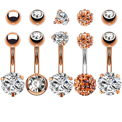 Body Piercing Belly Button - BodyJ4You 5PCS Belly Button Rings 14G Rose Goldtone Stainless Steel CZ Navel Body Piercing Jewelry Set