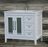 36'' Bathroom Vanity Cabinet Ceramic Top Integrated Sink + Faucet & Drain CMS3621