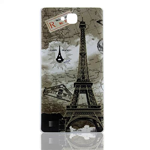 BB Mall Vintage Paris Eiffel Tower Embossed Printing Battery Door Plastic Cover Case for Huawei Honor 3C