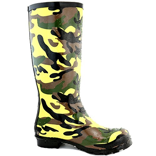 DailyShoes Damen Mittelkalb Kniestrumpf Hunter Regen Round Toe Rainboots Tarnung