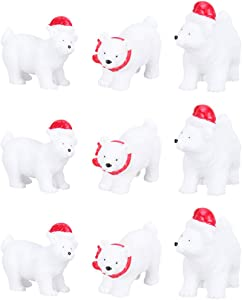 BESPORTBLE 9Pcs Christmas Resin Animal Figurine Mini Polar Bear Statue Sculpture Table Ornaments Cake Topper for Dollhouse Fairy Garden Landscape Dashboard (Random Style)