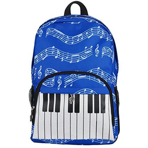 Oxford Musical Notes Print Backpack for School Boys Girls Stylish Art Bookbags (Keyboard Blue)