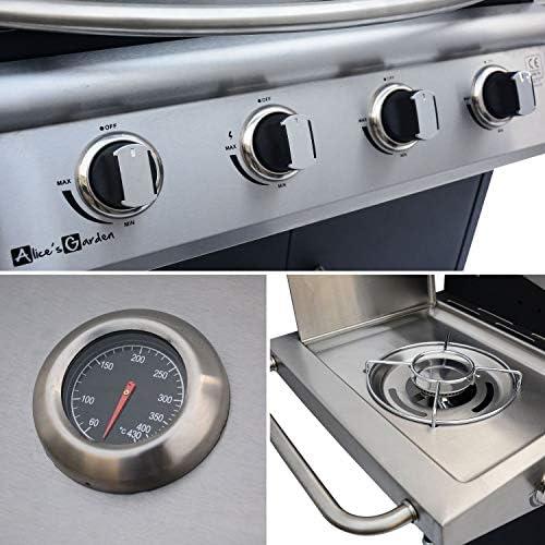 Barbecue gaz - Albert - Barbecue 4 brûleurs + 1 feu latéral INOX