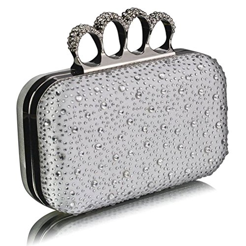 Beads Bag Purse LeahWard® For Out Evening Clutch Handbag IVORY Knuckle Clutches Night Luxury Rings Women's Ceremony Diamante Wedding EqqTFA
