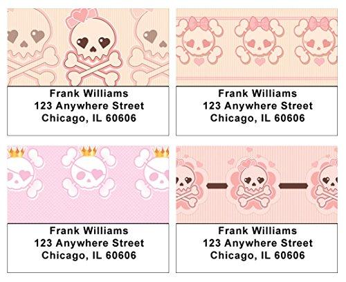 Girly Skulls Address Labels