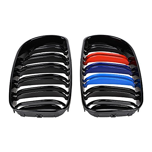 For BMW E81 3-Door E87 5-Door E82 E88 Glossy Black Kidney M Color Grille Double Line Grill