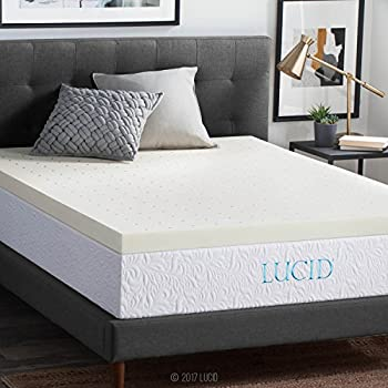 "LUCID 3"" Ventilated Memory Foam Mattress Topper, King"