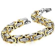MOWOM Silver Gold Two Tone Stainless Steel Bracelet Wrist Link Byzantine