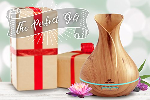 Essential Oil Diffuser For House - 14 Color LED Night Light - Our Best Wood Grain - Birthday Gifts & Housewarming Gifts Deluxe Edition, by Zen Breeze