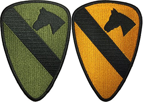 [Set 2 of 1st Cavalry Divison Horse HQ Military U.S. Army Tactical Vest Logo DIY Applique Embroidered Sew Iron on Emblem Badge Costume Patch By Ranger] (Diy Aviator Costume)