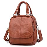 Chartsea Vintage Girl Leather School Bag Backpack Satchel Student Travel Shoulder Bag (Brown)