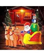 DomKom Decoración inflable de Navidad de 6 pies con Papá Noel en trineo con renos y pingüinos, luces LED para decoración de patio, para fiestas de Navidad, interior, exterior, jardín, patio, decoración de invierno