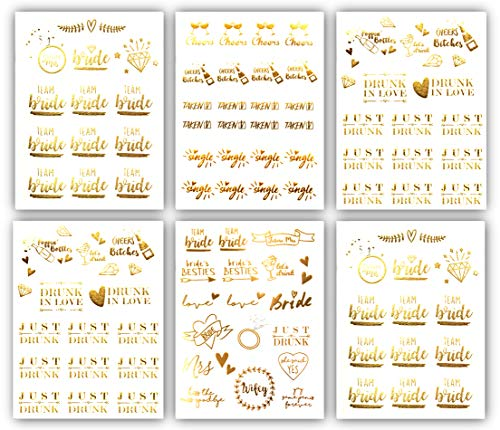 Team Bride Bachelorette Metallic Tattoos - Over 100 Gold Temporary Tattoos (6 Sheets) Bachelorettesy Party Favors -