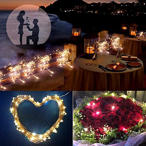 Solar String Lights, Ankway 200 LED Fairy Lights 8 Modes 3-Strands Copper Wire 72 ft Waterproof IP65 Solar String Lights Outdoor Indoor Patio Garden Christmas Decorative (Warm White)