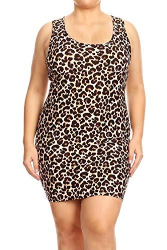 - Plus Size Pattern Print Casual Bodycon Sleeveless Racerback Short Tank Dress Animal Brown 2XL