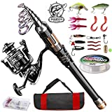 ShinePick Fishing Rod Kit, Telescopic Fishing Pole and Reel Combo Full Kit with Line Lures Hooks Carrier Bag for Travel Saltwater Freshwater Boat Fishing Beginners
