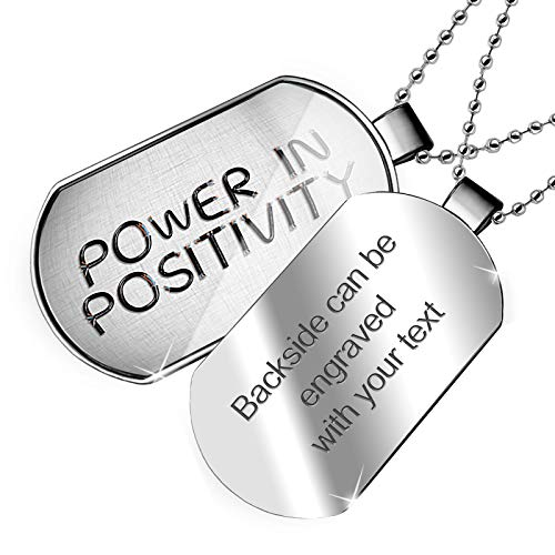 NEONBLOND Personalized Name Engraved Power in Positivity Electronics Wires and Cables Dogtag Necklace