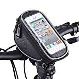 Bike Handlebar Bag, MOOZO Bicycle Top Tube Pouch, Bike Cycling Frame Bags Phone Mount Holder for iPhone 8 7 6 6S Plus Samsung Galaxy S7 S6 Edge Plus S6 S5 LG HTC Sony Huawei Smartphones Below 5.7 inch