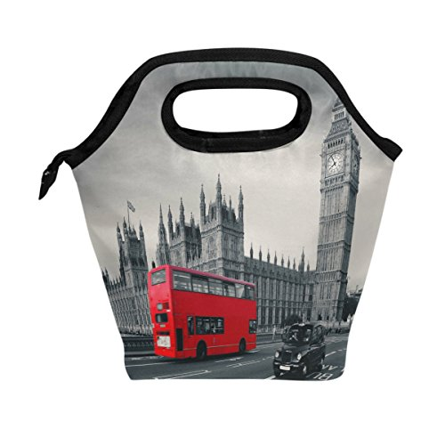 WOZO London City Big Ben Red Bus Insulated Lunch Bag Tote Bag Cooler Lunchbox Handbag for Outdoors School Girl (Big Ben Travel)