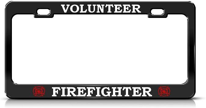 Fastasticdeals Volunteer Firefighter Chrome Heavy Duty Metal License Plate Frame
