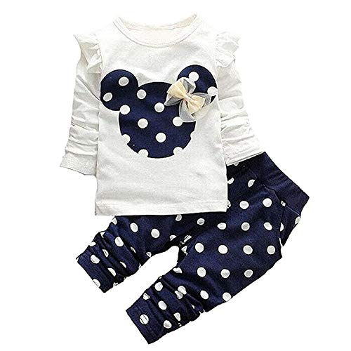 Cute Toddler Baby Girls Clothes Set Long Sleeve T-Shirt and Pants Kids 2pcs Outfits (Navy Blue, 2-3 T) ()