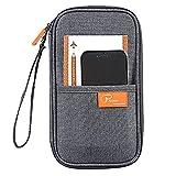 Waterproof Passport Holder RFID Blocking, Pensenion Family Travel Passport Wallet Organiser Case with Zipper Hand Strap - Grey