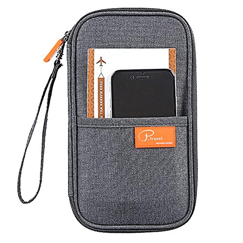 (Waterproof Passport Holder RFID Blocking, Pensenion Family Travel Passport Wallet Organiser Case with Zipper Hand Strap - Grey)