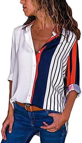 Blusen Damen V-Ausschnitt 3/4 Ärmel Farbe Streifen Knopf Asymmetrisch Casual Retro Swing Mode Weste Oberteile Elegant Losen Tunika Böhmen T-Shirt Tops 2019