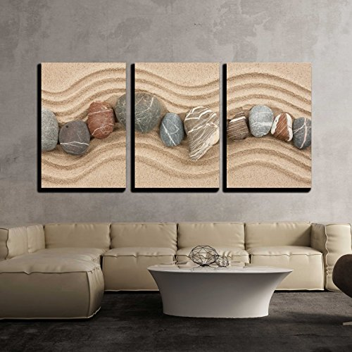 - wall26 - 3 Piece Canvas Wall Art - Striped Stones on The Sand,Can Be Used as Background - Modern Home Decor Stretched and Framed Ready to Hang - 16
