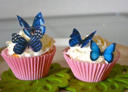 Edible Butterflies © - Small Assorted Blue Set of 24 - Cake and Cupcake Toppers, Decoration]()