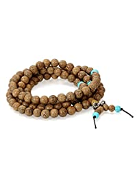 Flongo Men's Women's 8mm Sandal Wood Bead Tibetan Buddhist Prayer Mala Bracelet, 36 inch Length